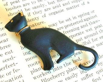 Vintage Black Cat Enamel Brooch Gold 60's (item 215)