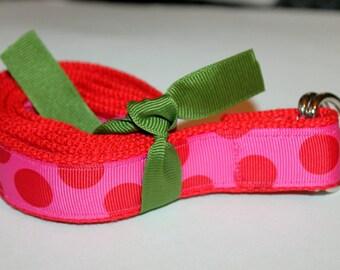 D Ring Polka Dot Girls Belt Hot Pink Girls Belt Girls Red and Pink Belt Preschool Belt Velcro Belt Girls Ribbon Belt Preppy POlka Dot Belt