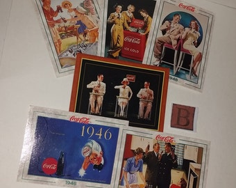 B Coca Cola advertising illustration images reproduction lot 6 cards old paper supplies for altered art scrapbooking