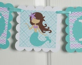 Mermaid Happy  Birthday Banner, Girl Banner, Chevron Banner, Chevron Party, Chevron Banner, Teal, White, and Touches of Purple Banner