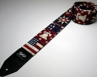 Handmade double padded patriotic AMERICANA guitar strap - American Flag - Liberty Bell