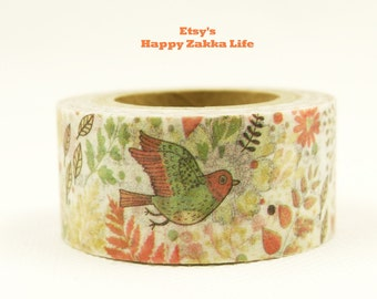 Japanese Washi Masking Tape - Bird in the Flowers - 20mm - 11 Yards