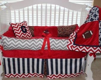 Boys custom baby bedding 6 pc set football set, red chevron, grey chevron, navy & red baby beddding