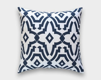 Navy Blue Chevelle Decorative Pillow Cover. Geometric Lattice. Choose from 11 Sizes. Premier Navy Cushion Cover.