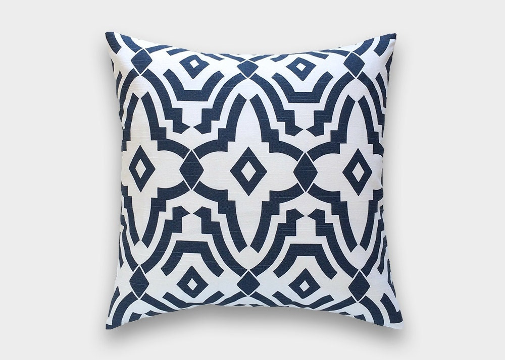 Navy Blue Decorative Bed Pillows: Navy Blue Chevelle Decorative Pillow Cover. Geometric Lattice