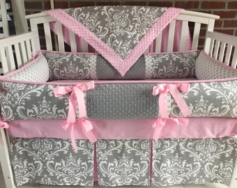 Crib Bedding  4 PC Gray Damask Pink