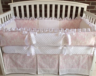 Custom crib bedding 3PC Pink Damask, White minky