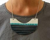 Statement Bib Navy & Turquoise Necklace