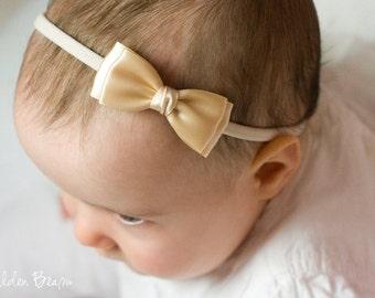 Champagne Olivia Baby Bow Headband - Flower Girl Headband - Champagne Olivia Satin Bow Handmade Headband - Baby to Adult Headband