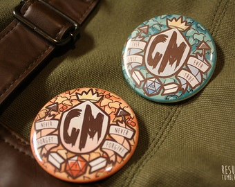 game master dnd pathfinder pinback buttons