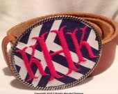 Kristin Henchel custom women's monogram belt buckle - Navy and White print with a Hot Pink fish tail monogram