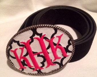 Kristin Henchel custom women's monogram belt buckle - Black and White print with a Hot Pink fish tail monogram