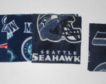 Sports Team Fleece Squares 6X6 Seattle Seahawks, Seattle Mariners, New England Patriots, Vikings