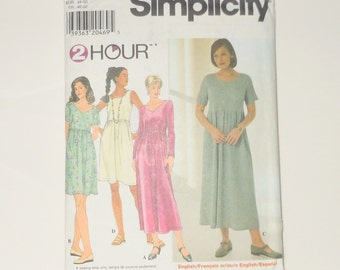 Vintage Simplicity 1997 Uncut 2 Hour Misses Knit Dress In Different Sleeve Lengths Sizes L & XL Pattern Number 7697 - Sewing Supply