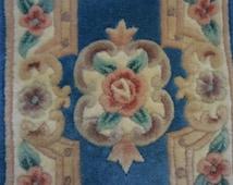 Pair of Vintage Plush Aubusson Wool RUGS - Two Vintage Oriental Blue Wool Rugs with Pink ROSES