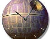 DEATH STAR pattern wall CLOCK - Star Wars galactic space craft - 7145