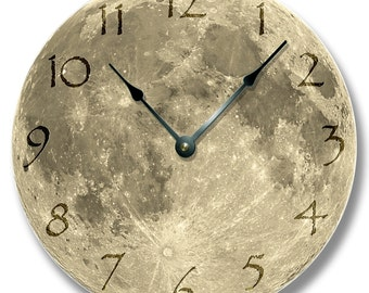 MOON pattern wall CLOCK - celestial home decor - harvest and blue moon also