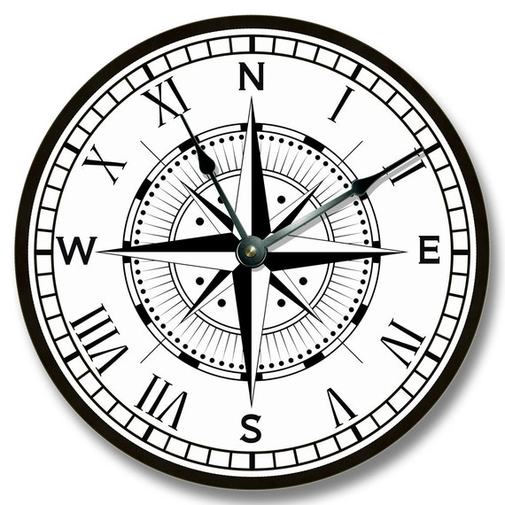 compass rose pattern wall clock beachy and nautical home
