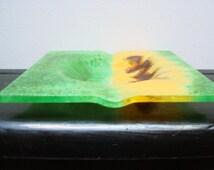 Vintage 1970s Art Glass Ashtray - Green - Yellow - Brown - Abstract Art Glass Cigarette Ashtray - Tobacciana