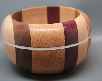 Handcrafted Segmented Wooden Bowl made from Five Different Woods with a White Pearl Resin Inlay - Collectible Modern Art, Wedding Gift