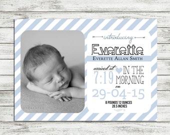 Baby Boy Birth Announcement PRINTABLE