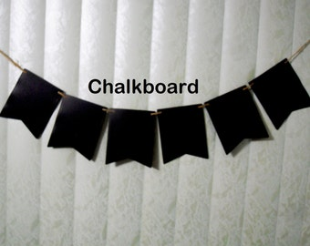 Chalkboard Banner, Reusable Banner, Chalkboard Cardstock Banner, Write Your Own Message Banner, Rewritable Banner, DIY Banner, 10 Pennants