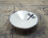 Dragonfly White & Silver Porcelain Jewelry Dish, Ring Dish, Dipping Bowl-Wedding Favor, Hostess Gift, Bridesmaid Gift