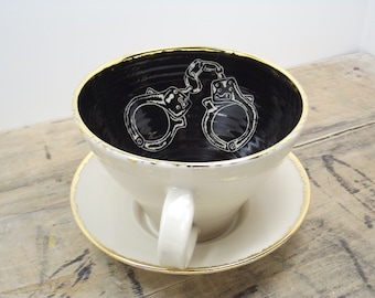 Black, White & Gold Handcuff Tea Cup and Saucer or Mug- Goth Gift, Wedding Gift, Gifts for Guys, Steampunk Gift