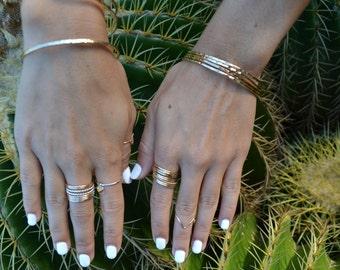 Bangle Bracelets for Women - Plain Gold Bangle Bracelet - Rose Gold filled - Sterling Silver Bangle Bracelet - Hammered Bangle Bracelet
