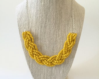 Yellow Beaded Braid Necklace