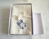 Embroidered Owl Cotton Handkerchief Single Organic
