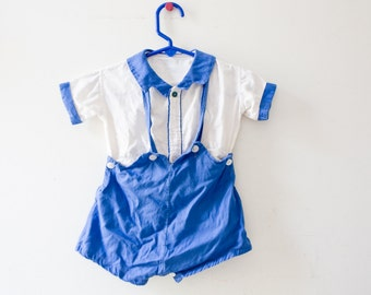 Vintage Boy Outfit - Blue and White Sailor Jumper Vintage Boy Overalls Vintage Boys Shirt