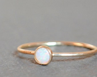 Opal Ring / Size 5.25 Opal Ring/Gold Opal Ring /14k Solid Gold/Gemstone/Simple Gold Ring/Thin Gold Ring/Teeny Weenie Simple Stacker AAA Opal