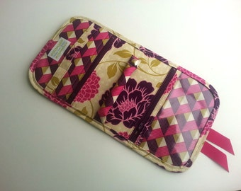 Quilted style Travel Jewelry Organizer Pouch in Joel Dewberry's Dahlia Grass
