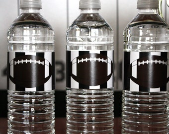 Football, Down Set Hut, Sports Theme, Birthday Party Water Bottle Labels