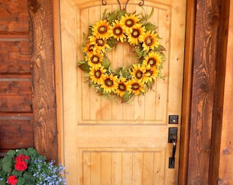 Spring Wreath-Sunflower Wreath-Summer Wreaths-Fall Home Decor-SCENTED Wreaths-Gift for Mom-Yellow SUNFLOWER  Wreath-Country Home Decor-Gifts
