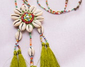 Akha Seashell Tassels Necklace (GREEN)/ Ethnic / Hippie / Tribal/Whole Sale