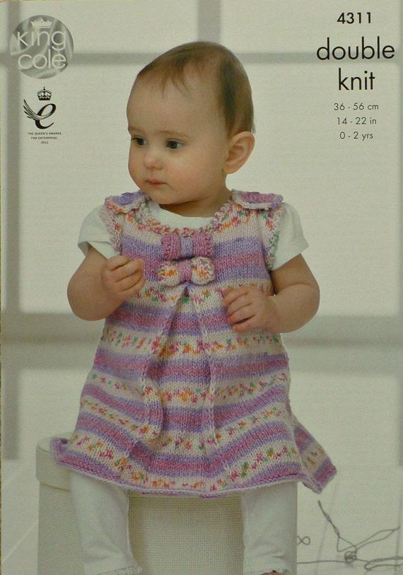 Knitting Pattern Pinafore Dress : Baby Knitting Pattern K4311 Babies Sleeveless Pinafore Dress