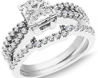 1.50 carat (ctw) 14k  gold princess and round  diamond ladies split shank bridal engagement ring with matching wedding band set 1 1/2 c...