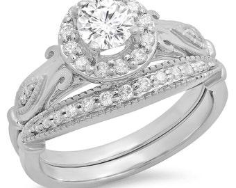 0.90 carat (ctw) 14k  gold round cut  diamond ladies bridal halo vintage style engagement ring with matching band set