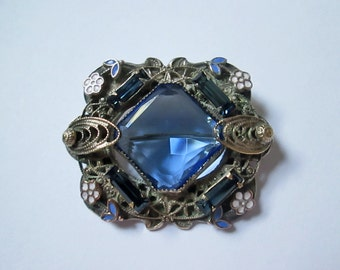 Art Deco Brooch 1910's Blue Faceted Glass Enameled Daisies and Baquettes