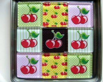 Colorful Cherries Magnets, Magnet Set of Nine with Storage Tin