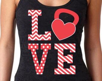 SoRock Women's Kettlebell Red And White LOVE Black Burnout Tank