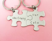 His Crazy Her Calm, Couples Keychains, anniversary gift, gift for him, gift for her, puzzle piece keychains, Valentines Gift
