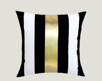 "Decorative Pillow Case, Cotton Black-White Throw pillow case with BRIGHT Gold fabric accent 1, 16"" x 16"",  Cushion case, Toss pillow case."