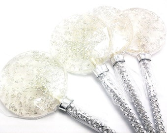 12 - LARGE 2.5 INCH SILVER Crystal Lollipops with Bling Stick  - Wedding, Bridal Shower, and Party Favors