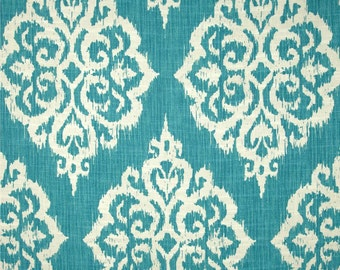 Two 26 x 26 Designer Decorative Pillow Covers Euro Shams - Ikat Large Damask - Turquoise  Blue
