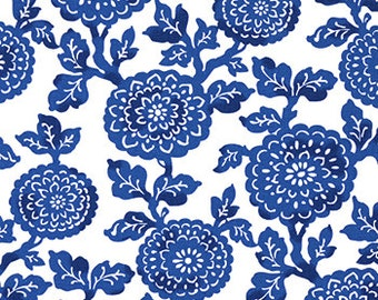 "Two  96""x50""  Custom Curtain Panels  - Rod Pocket Panels  in 100% Cotton Fabric - Large Floral Mums - Cobalt Blue NEW"