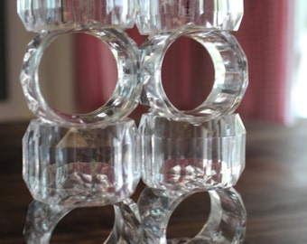 Vintage Crystal Acrylic Napkin Rings Set of 10