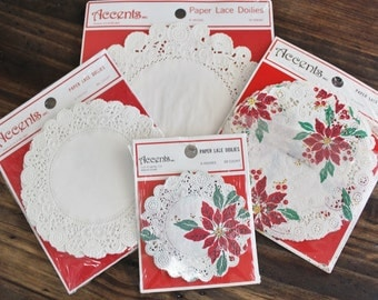Vintage Paper Doilies Christmas and White